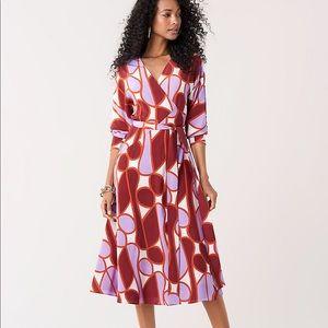 DVF Elle Silk Crepe De Chine Midi Wrap Dress